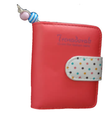 NEUES Portemonnaie Himbeer Polka dots