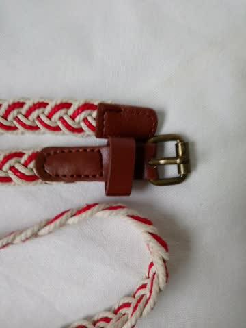Flechtgürtel rot - creme