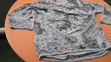 Shirt in Blau- und Grautönen, Rundhals, M