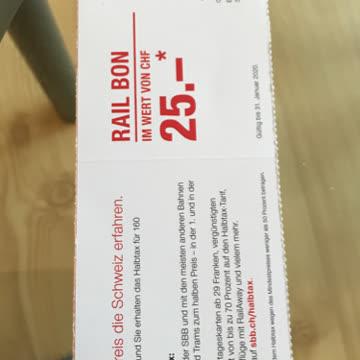 Rail Bon 25.- für Halbtax