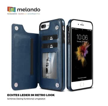 Retro Leder-Hülle für iPhone XSmax blau