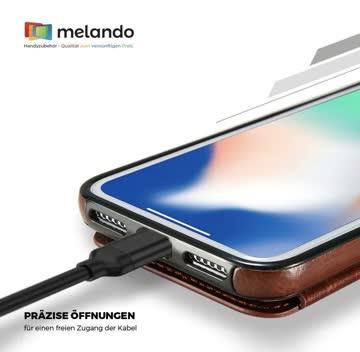 Retro Leder-Hülle iPhone XS schwarz