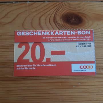 Coop Gutschein 20.- geschenkt bei 150.- Einkauf