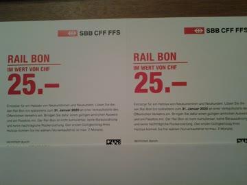 2 x 25.- SBB Rail Bons für Halbtax (für Neukunden)