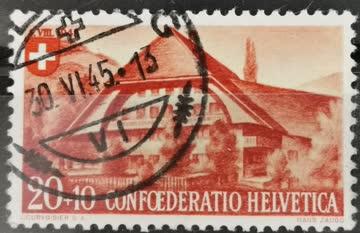 1945 PP Emmentaler Bauernhaus gestempelt