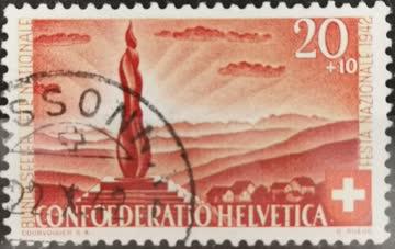 1942 PP Wehrmännerdenkmal auf der Forch gestempelt
