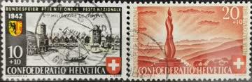 1943 2000 Jahre Genf & Wehrmännerdenkmal gestempelt