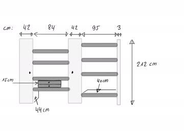 Büchergestell / Wohnregal, grau, variabel verkleinerbar