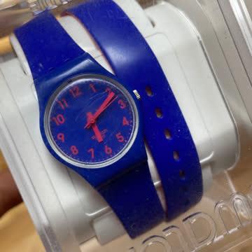 Swatch Uhr blau/pink