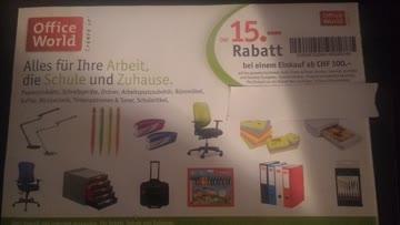 15 Franken Rabatt bei Office World ab CHF 100.00