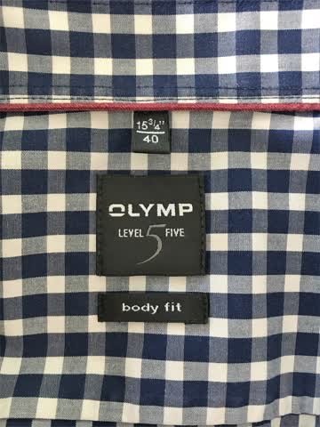Olymp Level5 Body Fit Hemd Gr. 40 (M) blau-weiss-kariert