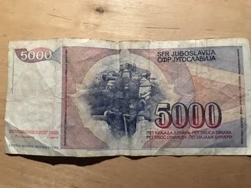 Jugoslavische Banknote 5000 Dinara