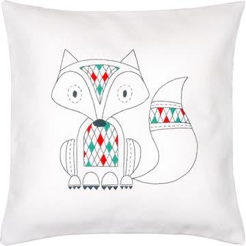 Neues Stickset - Kissen Fuchs, mit farbigem Rücken