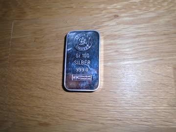 100 Gramm Silberbarren zum anlegen