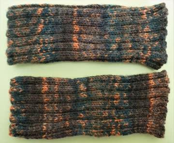 Handstulpen/Pulswärmer handgestrickt braun/orange