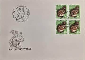 1966 FDC Eichhörnchen Viererblock Pro Juventute