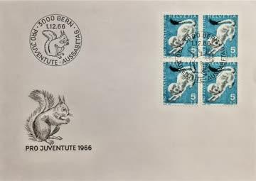 1966 FDC Hermelin Viererblock Pro Juventute