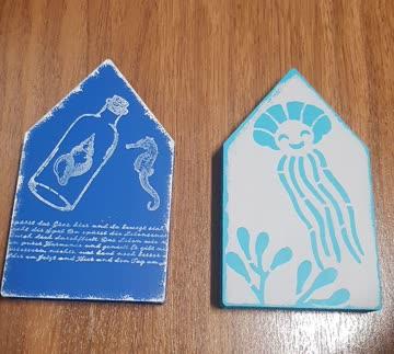 2 Deko Häuser blau