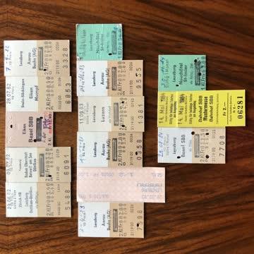 15 Bahnbillette aus den Jahren 1982/1983/1984