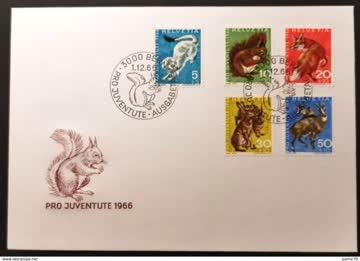 1966 FDC Pro Juventute einheimische Wildtiere