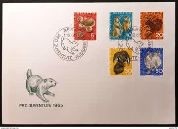 1965 FDC Pro Juventute Serie einheimische Wildtiere