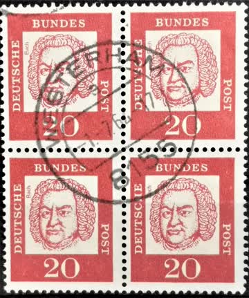 1961 Johann Sebastian Bach Viererblock MiNr: 355