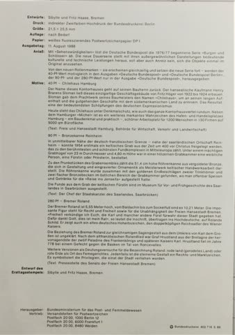 1988 ETB Sehenswürdigkeiten 24/1988 MiNr: 1379-1381
