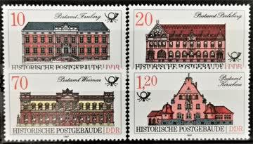 1987 DDR historische Postgebäude Viererblock postfrisch** Mi