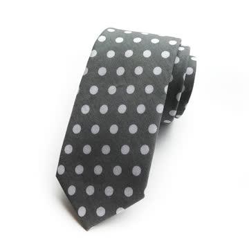 NEUE Herren Krawatte grau-weiss Polka dots
