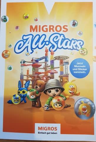 Migros All Stars 1 volle Karte + 7 Sticker OHNE Murmeln