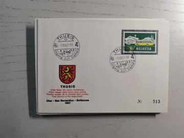 1968 Sonderstempelbeleg Poststrecke Chur - Bellinzona Thusis