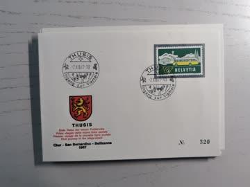 1967 Sonderstempelbeleg Poststrecke Chur - Bellinzona Thusis