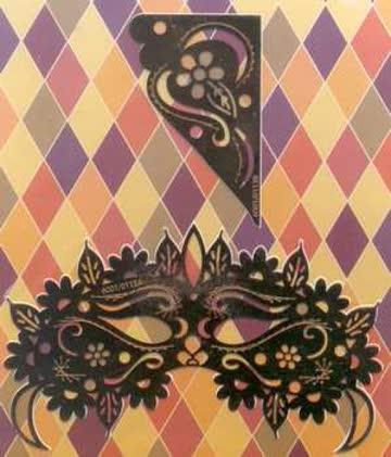 Stickschablone venezianische Maske, Eckschablone (6001.0113)