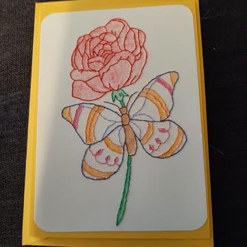 Karte Rose/Schmetterling