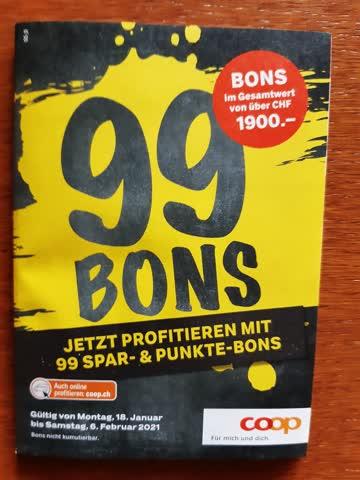 Coop: 99 Bons im Gesamtwert von über CHF 1900.-
