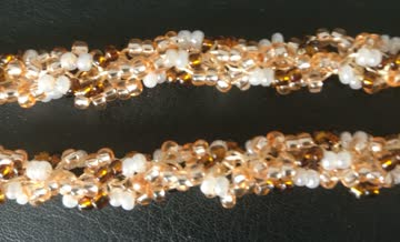 36cm Rocailles Halskette (beige-gold-weiß)