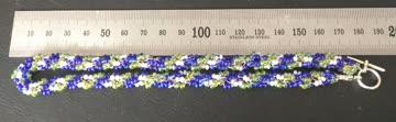 36cm Rocailles Halskette (Blau-grün-weiß)