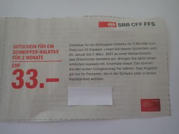 SBB Schnupper- Halbtax 33.- CHF