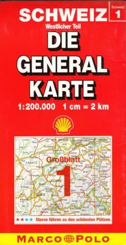 Schweiz - Die General Karte Westlicher Teil