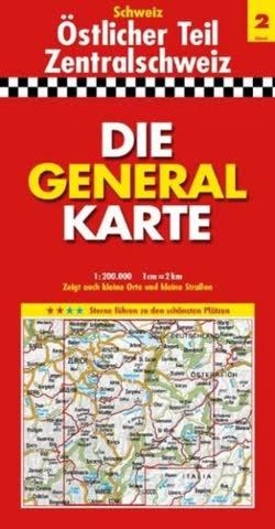 Schweiz - Die General Karte östlicher Teil/Zentralschweiz