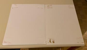 2 Cartoon Kartonbilder ausgemalt je 38x27.5 cm