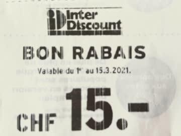 Interdiscount Spar Bon 15 CHF ab 150 CHF