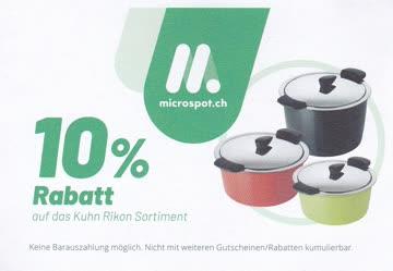 "microspot.ch Gutschein 10% Rabatt ""Kuhn Rikon Sortiment"""
