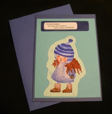 Erinnerungen, die unser Herz .. / Trauerkarte (Mädchen blau)
