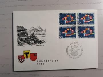 1966 Sonderstempelbeleg 6441 Rütli Bundesfeier an historisch