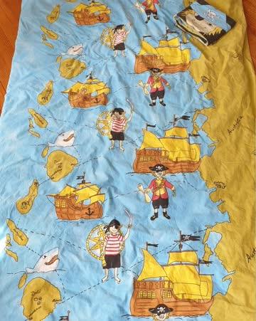Piraten Bettdecke mit Kissen