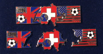 Rares 3-teiliges FUSSBALL-PUZZLE-PIN-SET World-Cup 1966/1994