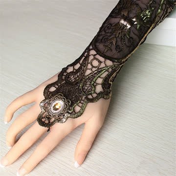 1x Damen Steampunk Gold Spitze fingerloser Handschuh lang
