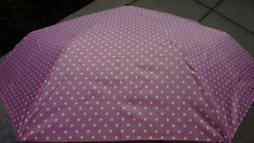NEUER Regenschirm Automatik rosa-weiss Polka dots