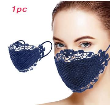 NEUE Stoff Maske mit Spitze dunkelblau